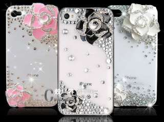 3pcs/lot bling flower white Swarovski case cover iPhone 4 o0
