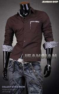 3mu Mens Designer Dress Shirts Tops Casual Slim Flower 8 Colors XS S M