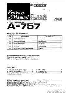 Pioneer A 757 Amplifier Service Manual in PDF format
