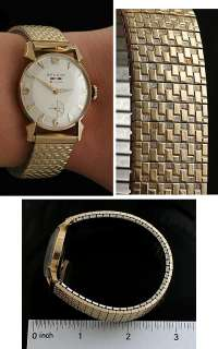 VINTAGE 1940s BENRUS 14K GOLD 21 JEWEL MENS WRISTWATCH