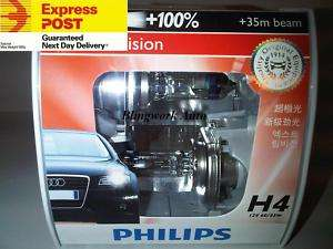 New Ver. +100% H4 Philips X treme Vision Halogen Bulbs