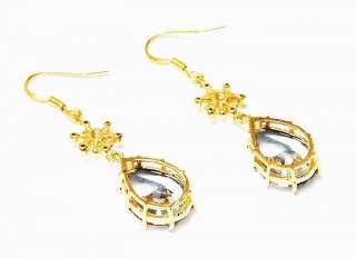 20K GF CZ Snowflake Swiss Blue Topaz Solitaire Earrings