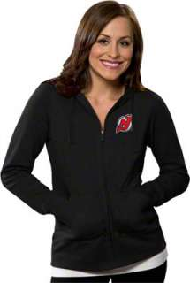 New Jersey Devils Womens Black Signature Full Zip Hooded Sweatshirt
