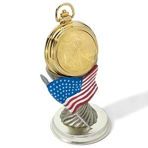 Gold Plated 2007 Silver Eagle Coin in Goldtone Pocket Watch