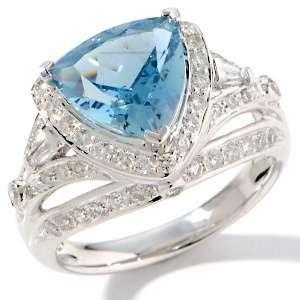 of a Kind 3.44ct Trillion Aquamarine and Diamond 14K White Gold Ring