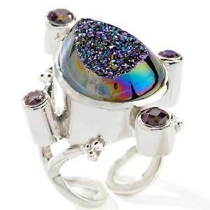 CL by Design Rainbow Drusy Sterling Silver Pear Shaped Ring