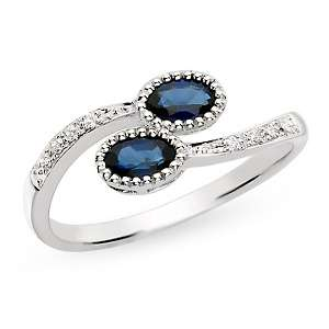 75ct Sapphire and Diamond 14K White Gold Ring