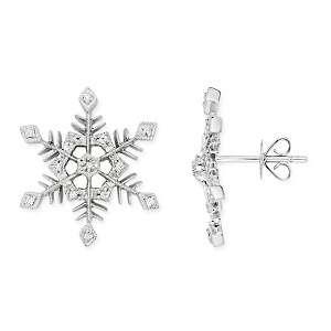 10ct Diamond 14K White Gold Snowflake Earrings