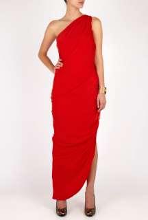 Halston Heritage  Full Length One shoulder Shirred Dress by Halston