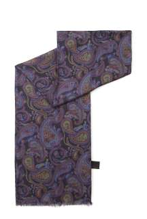Pretty Green  Black Modal Cashmere Vintage Paisley Scarf by Pretty
