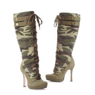 Adult Boots   Includes one pair of green camouflage high heel boots