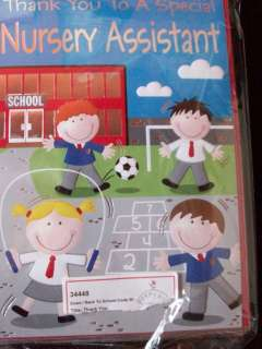 THANK YOU NURSERY ASSISTANT CARD KIDS PLAYING IN THE SCHOOL PLAYGROUND