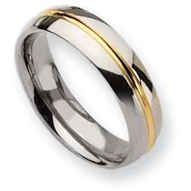 Titanium 14k Gold Plated 6mm Polished Band Ring   Size 12