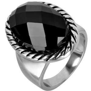 Jewelry 316L Stainless Steel Black Agate Stone Cocktail Ring Jewelry