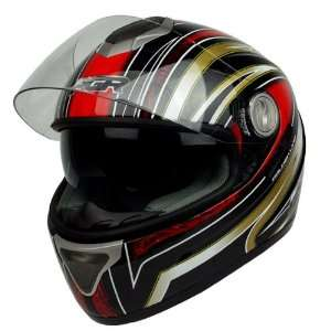 DOT APPROVED Motorcycle Street Bike Full Face Helmet (XS, Black Red