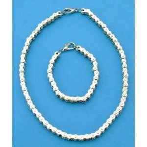 Ladies Bikers Real Chain Necklace & Bracelet Set