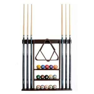 6 Pool Cue   Billiard Stick Wall Rack Made of Wood