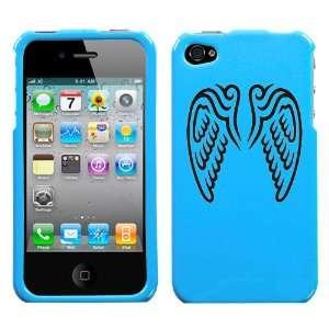 black angel wings design on sky blue turquoise phone case for apple