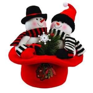 12 NHL Chicago Blackhawks Snowmen Top Hat Table Christmas