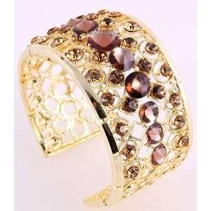 Fashion Jewelry Gold Tone Metal Brown Rhinestone Cuff Bangle Bracelet