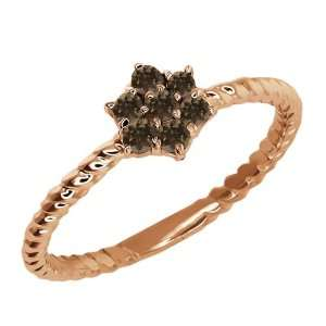 Round Brown Smoky Quartz 14k Rose Gold Ring Jewelry