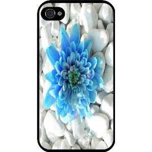 Blue Flower Pebbles Rubber Black iphone Case (with bumper) Cover