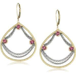 Dark Silver Chain and Gold Fill with Pink Quartz Swag Drop Earrings