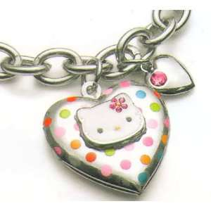 Licensed Sanrio© Hello Kitty Polka Dot Heart Locket Charm