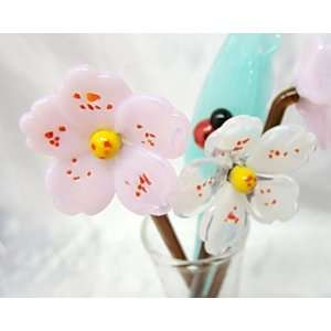NEW Hand Blown Glass Cherry Blossom Flowers & Leaves Set with Vase and