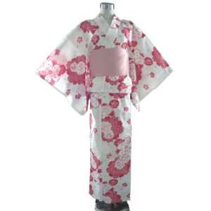 Yukata White with Red Cherry Blossom Flowers + Obibelt Toys & Games