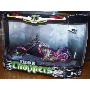Motor Max 118 Iron Chopper Motorcycle PURPLE W/FLAMES
