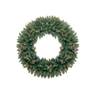 Pre Lit LED Classic Pine Artificial Christmas Wreath   Multi Lights