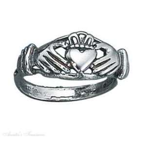 Sterling Silver Open Shank Claddagh Ring Size 6 Jewelry