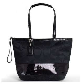 Coach Black Sequins Signature Stripe Tote   17574   MFSRP