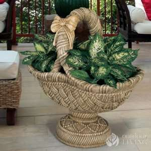 com Henri Studio Large Pedestal Basket Planter Patio, Lawn & Garden