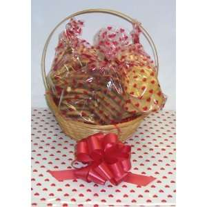 Large Valentines Day Classic Cookie Basket with Handle Heart Wrapping