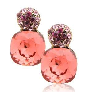 Plated Swarovski Crystal Drop Earrings Ruby Color