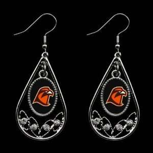 Bowling Green State Falcons Ladies Tear Drop Crystal Dangle Earrings
