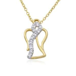 Gold Plated Sterling Silver White Cubic Zirconia Angel Pendant, 18