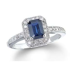 1.55 Ct Emerald Cut Sapphire & Diamond White Gold Ring Jewelry