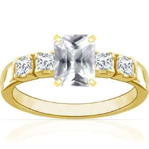 Yellow Gold Emerald Cut White Sapphire Ring With Sidestones Jewelry