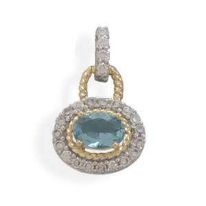 Plated and 14 Karat Gold Plated Blue and Clear CZ Pendant Jewelry
