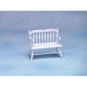 Dollhouse Miniature White Deacons Bench
