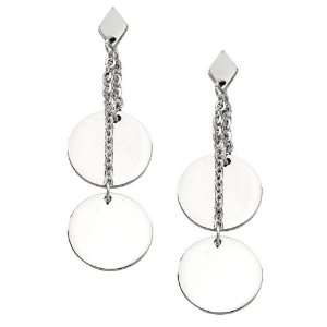 Stainless Steel Double Circle Drop Earrings Jewelry
