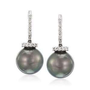 South Sea Pearl, .37ct t.w. Diamond Drop Earrings In Gold Jewelry