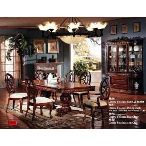 Dining Set w/Gold Brushed Decoration Trim   Buffet & Hutch Home