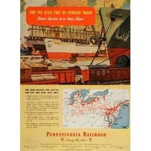Railroad Freight Trains Docks Map   Original Print Ad