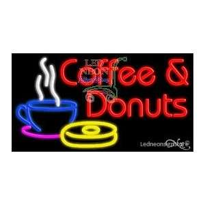 Coffee and Donuts Neon Sign 20 Tall x 37 Wide x 3 Deep