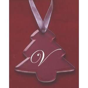 Glass Christmas Tree Ornament with the Letter V