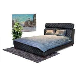 Diamond Sofa Coco Eastern King Tufted Leather Bed Black COCOBEDEKINGB